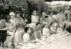 playing recorder with Blue Rock School students, 1991