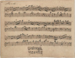 Anna Magdalena Bach's autograph of Menuet in G, 1725