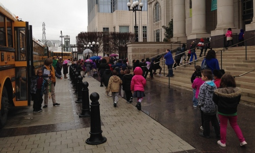 elementary school students arrive at Schermerhorn Symphony Center for a Young People's Concert, March 4, 2015