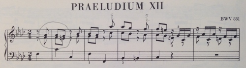 the beginning of Prelude in f minor BWV 881 from The Well-Tempered Clavier Book 2