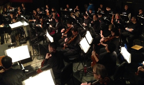 The Nashville Symphony warms up in the pit at TPAC's jackson Hall before a performance of A Midsummer's Night Dream with the Nashville Ballet, April 24, 21015