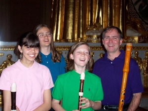 with student ensemble Music City Recorder Quartet after a performance at the Parthenon, Nashville 2007