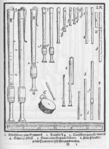 a consort of renaissance recorders from Syntagma Musicum, 1619, by Michael Praetorius