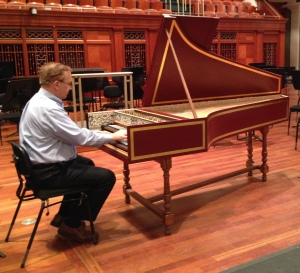 Nashville Symphony Principal Keyboard player Robert Marler takes Anna for a test drive on the stage of Laura Turner Hall