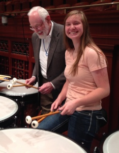 Principal Timpanist William G. Wiggins and Peyton Ford, Curb Youth Symphony