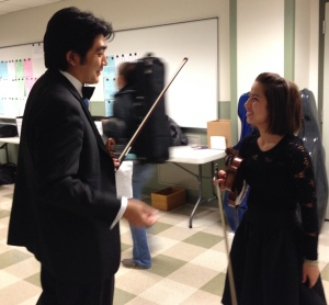Nashville Symphony concertmaster Jun Iwasaki & Curb Youth Symphony violinist Maggie Kasinger backstage before the annual Side-By-Side concert, May 22, 2015