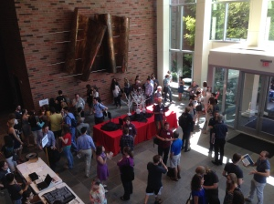 Ingram Hall lobby during a break at the Vanderbilt Music & Mind Kickoff to the Society for Music Perception and Cognition 2015 Conference, August 1, 2015