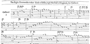 French tablature: The Earle of Essex Galliard but John Dowland from Robert Dowland's A Varietie of Lute Lessons, 1610. French tablature was used in England and Scotland as well as France