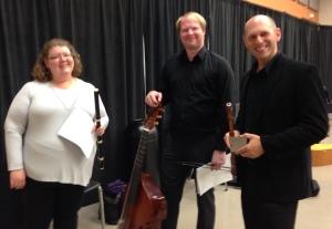 Jessica Dunnavant (baroque flute), Joshua Keller (viola da gamba), & Jared Hauser (baroque oboe), Nashville Early Music Festival, September 26, 2015