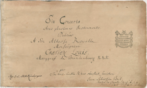 Autograph title page of The Brandenburg Concertos in Sebastian's hand (click to enlarge)