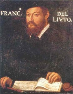 anonymous portrait thought to be Francesco da Milano, c. 1535, now in the Pinacoteca Ambrosiana, Milan