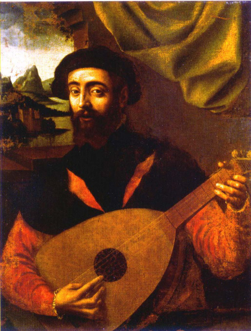 "Francesco da Milano - er spielt ""in die Faust"", Daumen Innen"