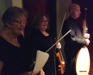 (l to r) Karen Clarke (violin), Allison Nyquist (violin), & Francis Perry (theorbo) wait in the stage right wing of Collins Auditorium, Lipscomb University before going on stage, Nashville Early Music Festival, September 26, 2016