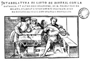 woodcut (of Francesco da Milano?) ~ the cover of Intabolatura di liuto published in Venice in 1536 by Francesco da Forli