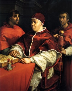 Raphael's portrait of Pope Leo X (Francesco's first papal patron) with his cousins Giulio de' Medici (later Pope Clement VII) on the left and Luigi de' Rossi, on the right.