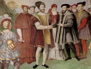 The Truce of Nice, 1538 by Taddeo Zuccari - in the foreground are Francis I (l) and Charles V (r) shaking hands; Pope Paul III is between them