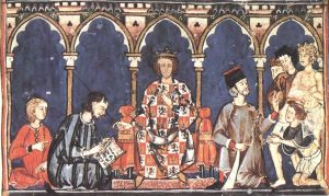 Alfonso the Wise as a judge, from his Libro de los Dados, circa 1280