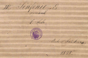 from the title page of the autograph of the 1878 revision of Symphony No. 4 in E flat by Anton Bruckner