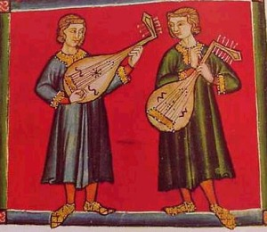two lutenists from the manuscript of Cantinas de Santa Mariaof Alfonso the Wise of Castile (1221-1284)