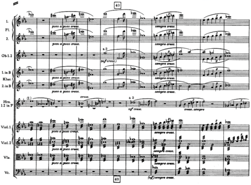 """the first occurrence of the """"Bruckner Rhythm"""" in the first movement of the Fourth Symphony at m. 43 in the woodwinds and first violins, echoed by the horn"""