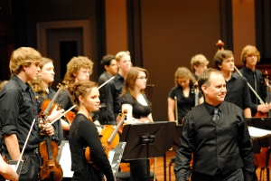 with Music City Youth Orchestra after a performance at Schermerhorn Symphony Center, Nashville, May 22, 2011