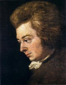 detail from a portrait of Wolfgang Amadeus Mozart, painted in 1782 by his brother in law Joseph Lange. Mozart wrote the C minor piano concerto in the winter of 1785-86