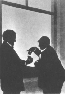 Wagner offers Bruckner snuff, c. 1873 ~ silhouette by Otto Böhler