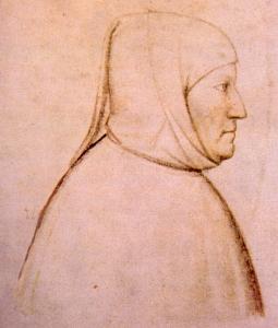 Petrarch ~ contemporary portrait by Altichiero (c.1330-c.1390)