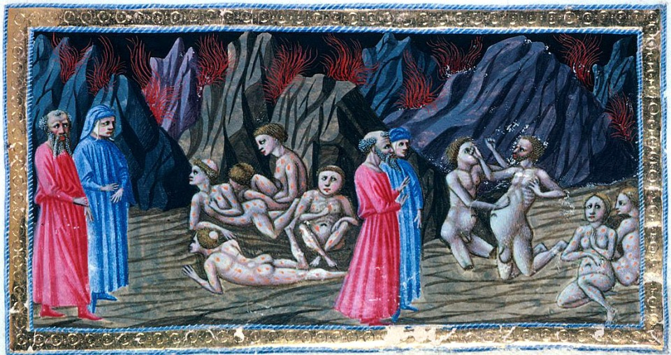 Inferno: Canto XXX by Priamo della Querci (c.1400-1467) ~ surely the potbellied man in the scene on the right is Dante's Master Adam