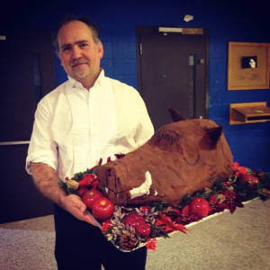 with the Boar's Head before a Tastes & Sounds of the Season performance, Nashville School of the Arts, 2012