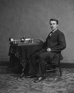 Thomas Edison with his second phonograph, photographed by Mathew Brady in Washington, April 1878
