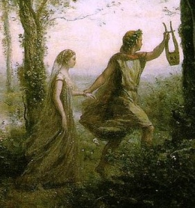 detail from Orpheus leading Eurydice from the Underworld by Jean-Baptiste-Camille Corot (1796-1875)