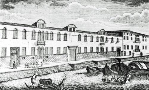 18th century drawing of the Ospedale degli Incurabile, Venice