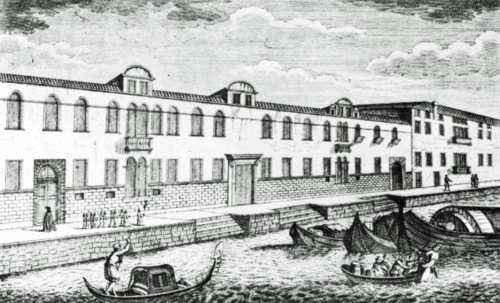 18th century drawing of the Ospedale degli Incurabile, Venice