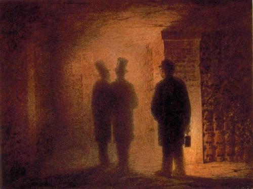 Viktor Hartmann: Paris Catacombs, watercolor