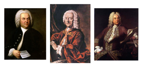 Telemann and his peers: (l to r) Johann Sebastian Bach (portrait by E.G. Haussman, 1746); Georg Philipp Telemann (hand-colored aquatint by Valentin Daniel Preisler, after a lost painting by Louis Michael Schneider, 1750); Georg Friedrich Händel (Thomas Hudson, 1748)