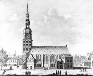 Katharinenkirche, 1700 - one of the five principal churches (Hauptkirche) in Hamburg. Copper engraving by Pieter Schenk .