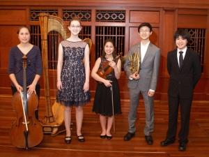 2016 Curb Concerto Competition Finalists: (l to r) Jocelyn Hartley, Clara Warford, Maggie Kasinger, Shawn Zheng, Kazuki Takizawa. March 6, 2016, Schermerhorn Symphony Center, Nashville