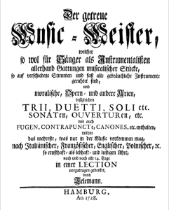 title page of 25 Der getreuer Musikmeister, 1728