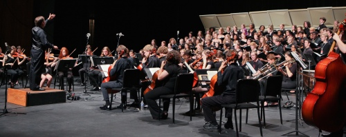 dress rehearsal: directing MCYO and the NSA Festival Choir in Seven Choruses from Mozart's Requiem, April 30, 2012, Tennessee Performing Arts Center, Nashville