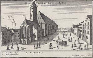 the Thomaskirche, Leipzig, ~ etching by Gabriel Bodenehr, c. 1700