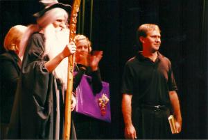 on the set of my Carrollwood Day School production of The Hobbit, March 18, 2003, at the Tampa Bay Performing Arts Center ~ one of the most fulfilling experiences of my teaching career!