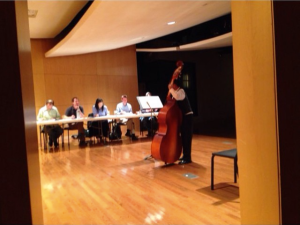from my instagram feed: a student auditions on bass for Accelerando ~ March 12, 2016, W.O. Smith Music School