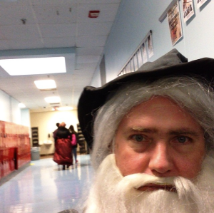 from my Instagram feed: a selfie as Gandalf on hall duty at lunch time, Nashville School of the Arts, October 31, 2014