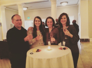 from my instagram feed: Nashville Symphony Education & Community Engagement staff toast the symphony's Grammy win: (l to r) WB, Margie Way-Kiani, Kelley Bell, Kristen Freeman, March 24, 2016
