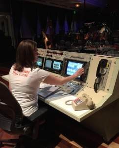 actress Jamie Janiszewski prepares to Blast Off from Mission Control on the stage of Schermerhorn Space Station, February 27, 2016
