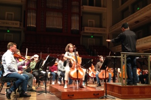Jocelyn Hartley, cello, rehearses the first movement of Camille Saint-Saëns' Cello Concerto No. 1 in A minor, Op. 33 with the Nashville Symphony, Vinay Parameswaran, conductor. Wednesday, May 19, 2016.