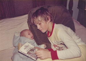 reading The Hobbit to my brother Matthew, 1977