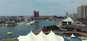 Baltimore's inner harbor ~ the view from my hotel room at the Baltimore Marriott Waterfront