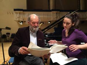 Olga reviews the score of Lamentate with Arvo Pärt during rehearsal, May 3, 2016, Talinn, Estonia